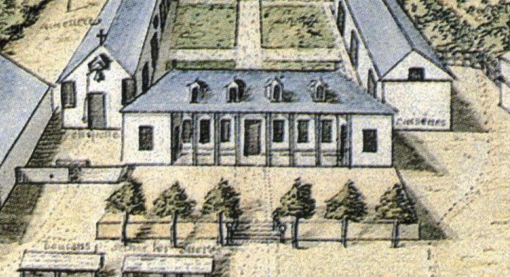 La maison des pères en 1730. Gérard Hébert, détail du cartouche de la Carte du Gouvernement de l'isle et terre ferme et colonie de Cayenne, 18 octobre 1730, Service historique de l'Armée de terre, Vincennes.