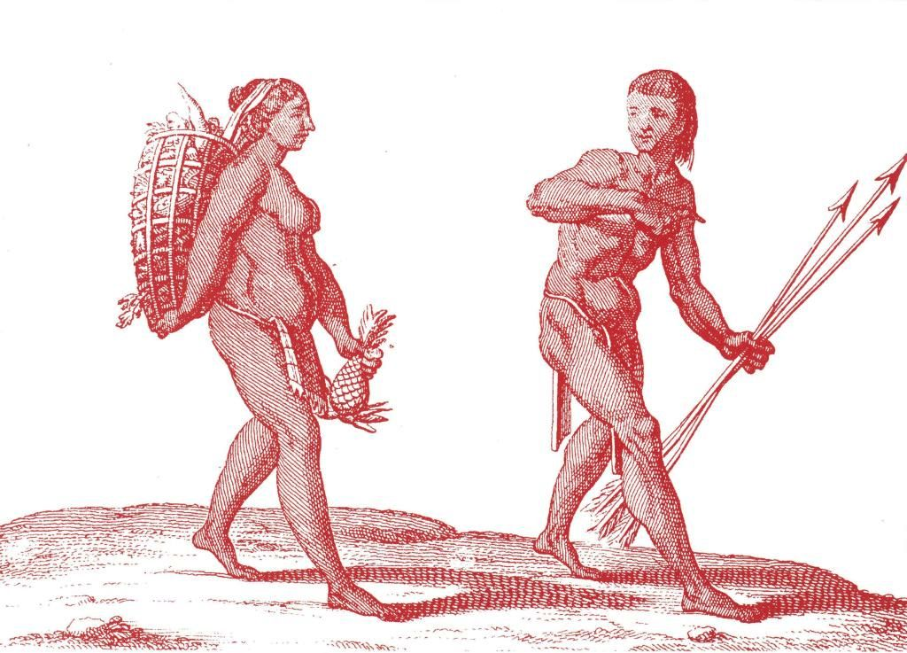 La présence autochtone en Guyane remonte à plus de 6 000 ans. Pierre Barrère, « Indienne et Indien de la Guyane », Nouvelle relation de la France Équinoxiale, 1743.