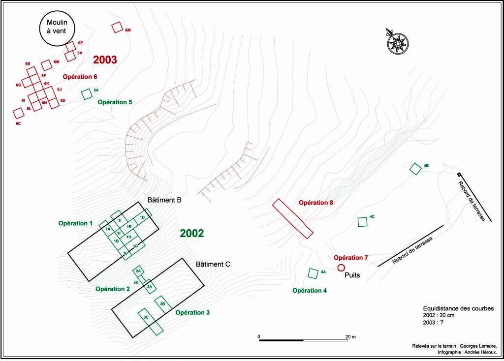 Plan des vestiges des hangars qui servaient à sécher le café, le cacao et le coton avant de les expédier en France. Infographie Andrée Héroux.