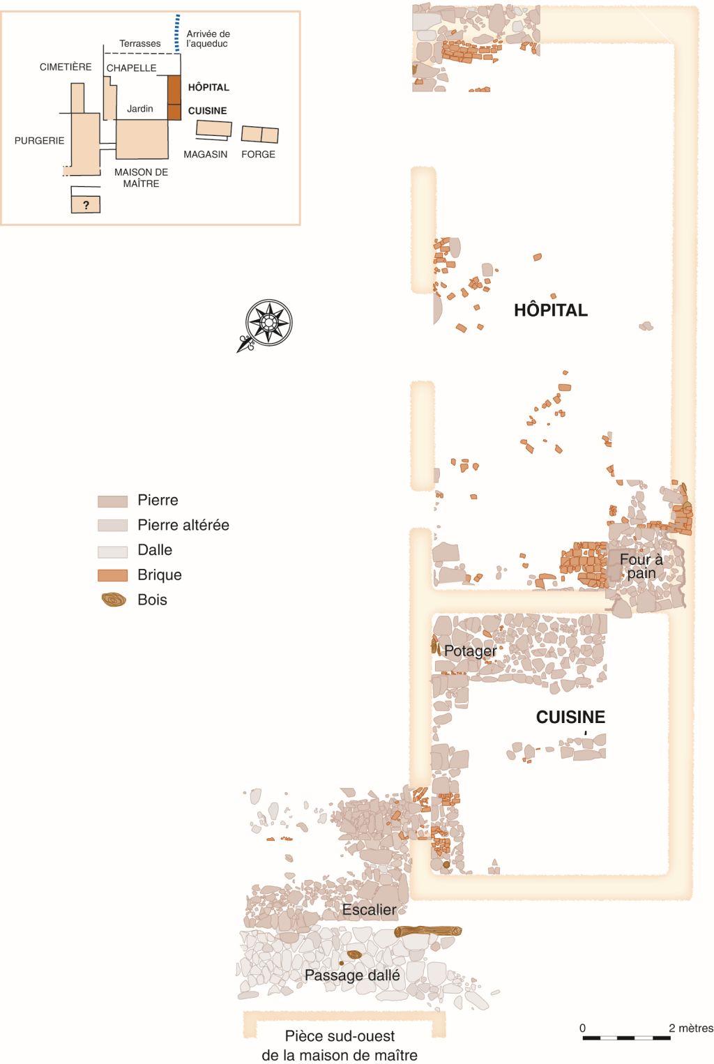 Plan des vestiges de la cuisine et de l'hôpital. Infographie Andrée Héroux.