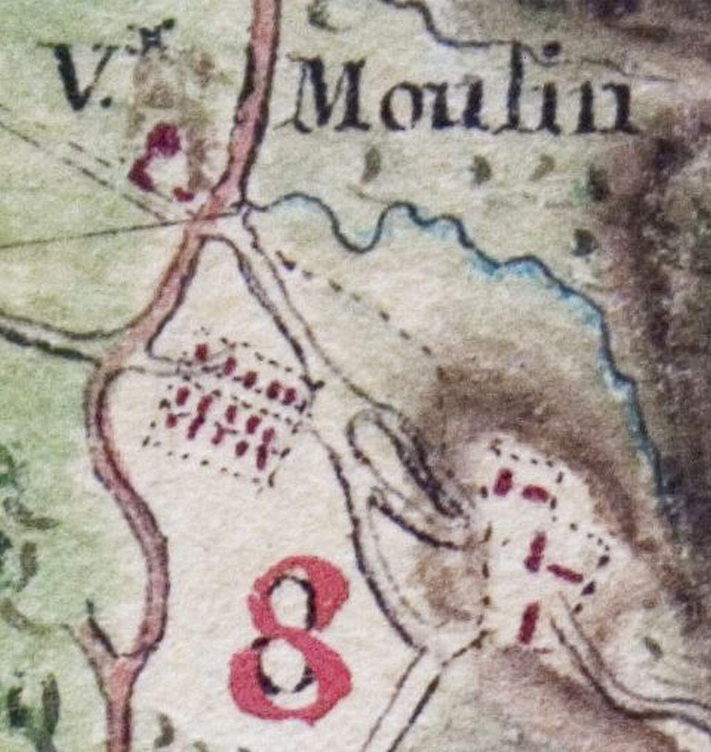 Carte montrant le quartier des esclaves disposé en forme de quadrilatère. Joseph-Charles Dessingy, Carte topographique de l'Isle de Cayenne, 1771, Service historique de l'Armée de terre, Vincennes.