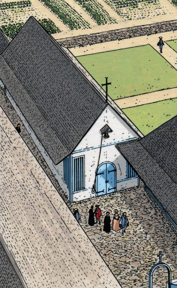 La chapelle de l'habitation. Dessin Patrice Pellerin.