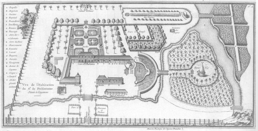 L'habitation de Jean-Antoine Brûletout de Préfontaine à Cayenne. Maison rustique…, 1763, Archives départementales de la Guyane, Cayenne.