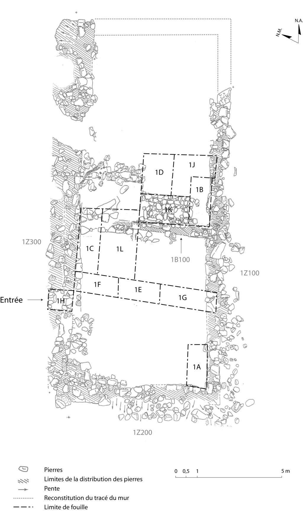 Plan des vestiges de la forge. Alain Chouinard, Archéologie et archéométallurgie de la forge, 2001.