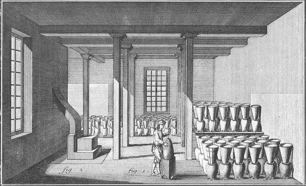 La purgerie utilise un grand nombre de poteries sucrières. Le sucre reste dans la forme à sucre, tandis que la mélasse s'égoutte dans le pot de raffineur par un orifice à la base de la forme. Diderot et d'Alembert, Encyclopédie…, 1751-1772, Agriculture, Économie rustique, Sucrerie, planche VI.