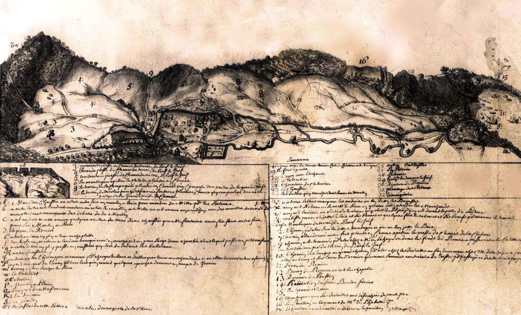 Vue du vallon de Rémire vers 1690. L'habitation des jésuites est désignée par le chiffre 16. Goupy des Marets, Bibliothèque municipale de Rouen, fonds Coquebert de Montbret.