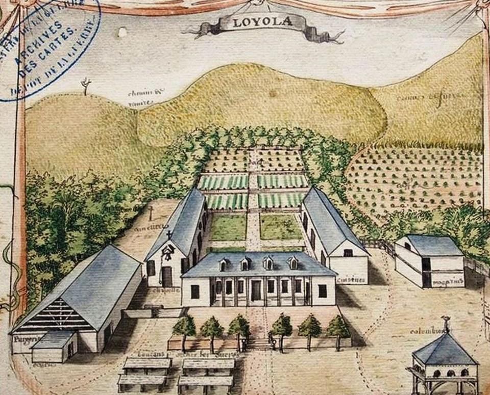 L'habitation Loyola en 1730. Gérard Hébert, cartouche de la Carte du Gouvernement de l'isle et terre ferme et colonie de Cayenne, 18 octobre 1730, Service historique de l'Armée de terre, Vincennes.