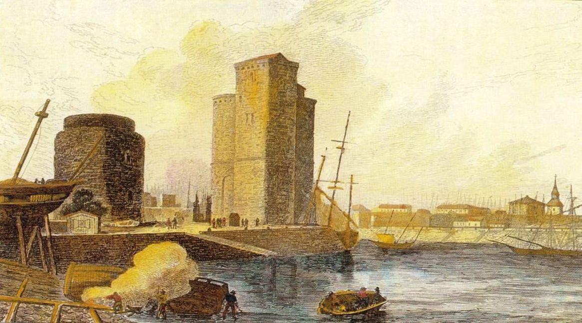 L'économie de la colonie guyanaise était dépendante des politiques de la métropole. Le port de La Rochelle, attribué à Francis Swaine.