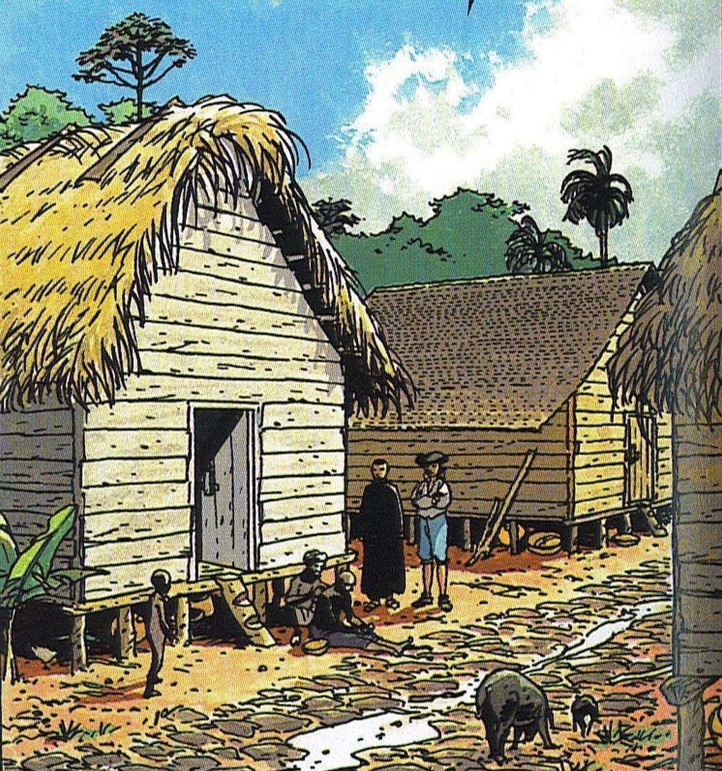 Jésuite visitant une case dans le quartier des esclaves.