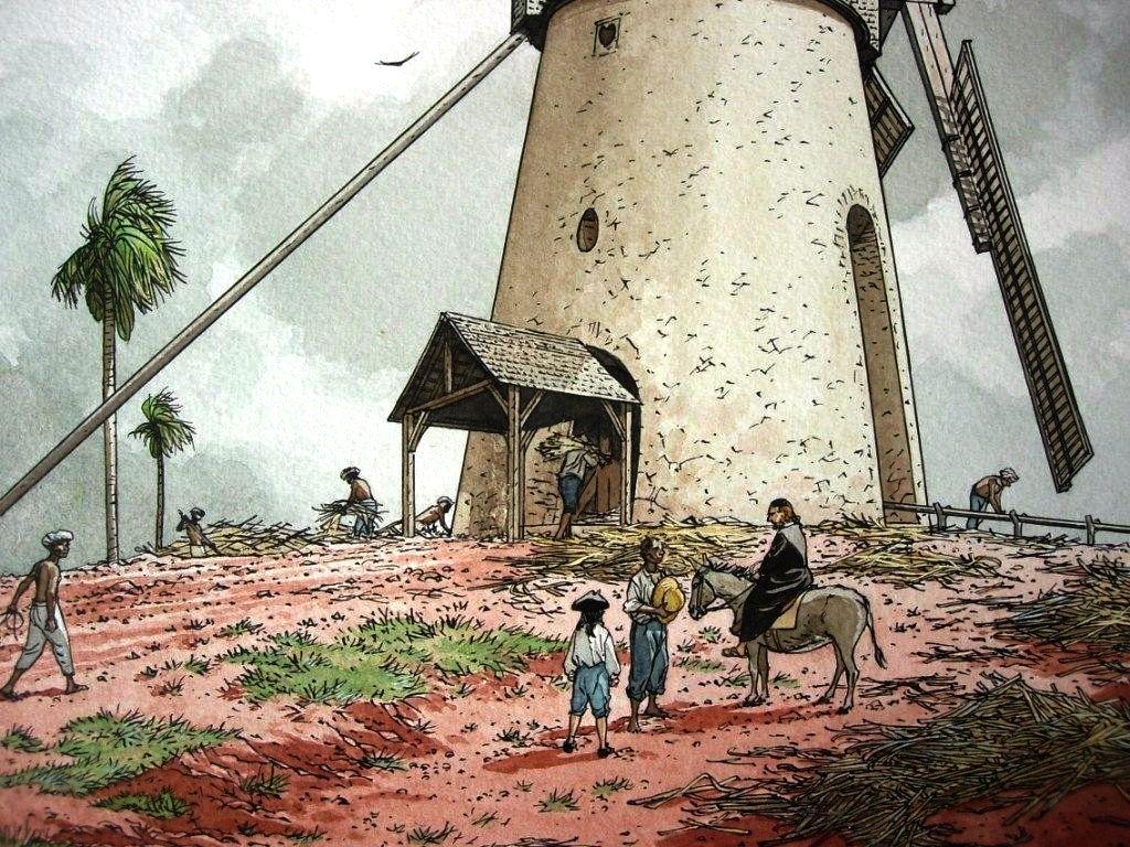 Moulin à vent servant au broyage des cannes à sucre. Dessin Patrice Pellerin.