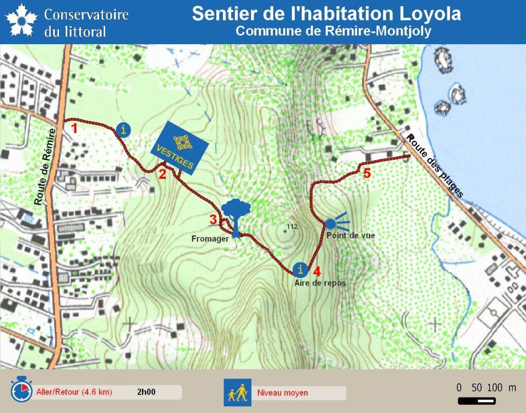 Plan du sentier de l'habitation Loyola.