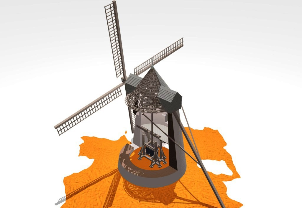 Reconstitution d'un moulin à broyer. Illustration Aurélien Le Roux.